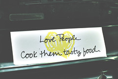 love people. (j*lewis) Tags: atlanta food green love car yellow georgia sticker heart garage parking cook bumper decal