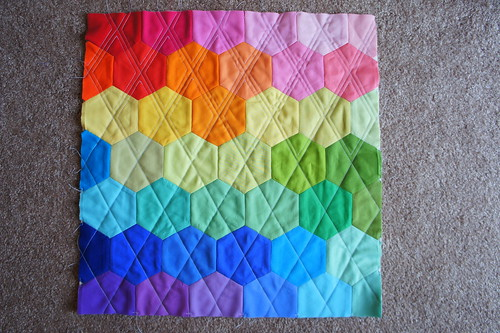 Rainbow Hexagon Pillow - Quilting