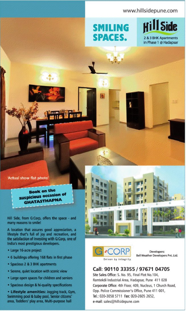 G Corp Hill Side, 2 BHK & 3 BHK Flats, at Ramtekadi Industrial Area, Hadapsar, Pune 411 028