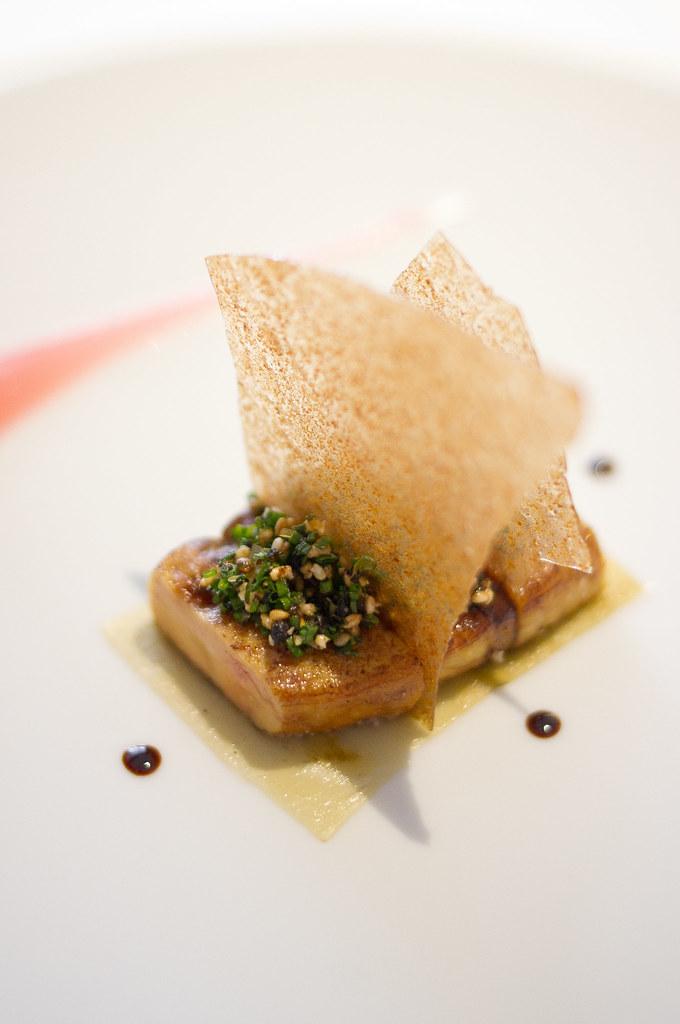 Roast foie gras. Rhubard, braised konbu and crab biscuit