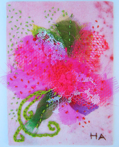 Organza flower embroidery ATC