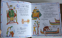 The Bayeux Tapestry (noriko.stardust) Tags: old travel art history watercolor notebook needlework fine cartoon journal battle blogger medieval historic handpainted watercolour hastings copy reproduction reenactment handwritten kingedward bayeux williamtheconqueror tapestry battleofhastings reproduced recreated bayeuxtapestry latapisseriedebayeux dukeofnormandy kingharold notebookism reenacted kingedwardtheconfessor