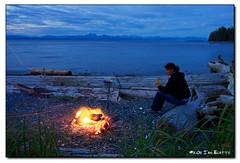 Evening Fire (ian_beatty) Tags: camping nature outdoors fire britishcolumbia malcolmisland
