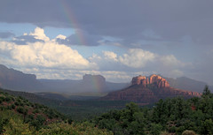 Heads Up, Kids! (sedonakin) Tags: arizona sunlight storm southwest rain clouds canon landscape rainbow shadows purple hiking horizon sedona canyon monsoon vista redrocks cathedralrock mogollonrim oakcreekcanyon cumulonimbus coconinonationalforest courthouserock courthousebutte chickenpoint arizonalandscape southwesternlandscape julielake twinnuns