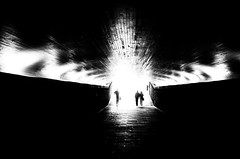 underpass (totomai) Tags: light blackandwhite 3 monochrome silhouette norway underpass three europe alien entrance tunnel frombehind bergen universe busstation 2011 bigmomma challengeyouwinner hueless nikond7000