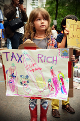 Tax the Rich - Occupy Wall Street (Rachel Citron) Tags: newyorkcity signs streetart march downtown message blogs cnn littlegirl gothamist coverage wealthy activism protests healthcare economy democr