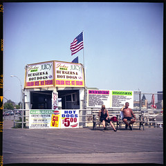 People from Coney Island 2 (beibibum75) Tags: nyc newyork 120 6x6 tlr film mediumformat coneyisland lomo fuji lubitel 166u fujireala100