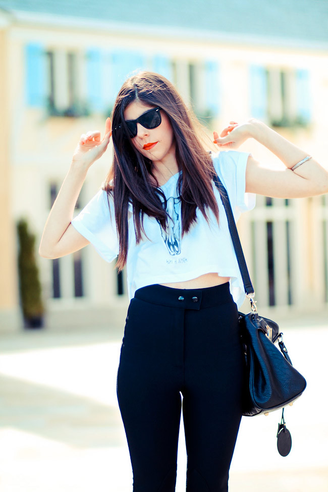 American Apparel riding pants, Ray Ban Wayfarer sunglasses, Patent Penny Loafers, Fashion outfit