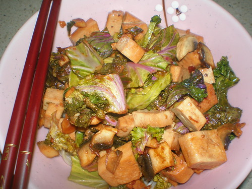 Tofu, Mushrooms and Greens in Teriyaki Sauce