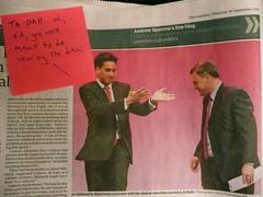 Ed expresses surprise at the other Ed's wardrobe choice (Scorpions and Centaurs) Tags: photo newspaper funny comic politics labour theguardian stickynote funnybusiness britishpolitics labourpartyconference captioned edballs edmilliband