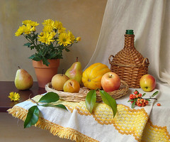 Yellow, Mellow, Ripened Days... (Esther Spektor - Thanks for 11+ millions views..) Tags: flowers autumn light red stilllife food white reflection green art fall apple leaves yellow fruit table golden petals bottle berry branch artistic embroidery creative plum fringe explore pot mum ornament pear tray daytime tablecloth melon 1001nights everydaylife bodegon naturemorte asianpear artisticphotos naturezamorta coth bej koreanmelon esimages