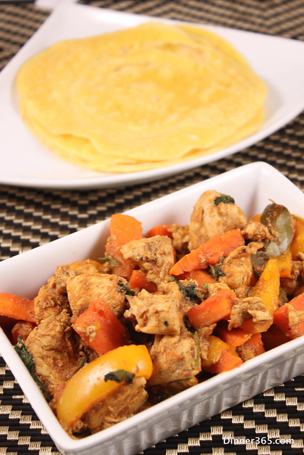 Day 290 - Chicken-Pepper Masala and Cornmeal Crepes