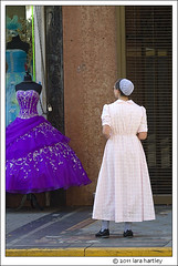 plain and not plain (_RedShoesGirl_) Tags: california los angeles broadway mennonite quinceaera formalgown plaindress broadwaydistrict