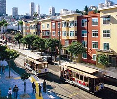 mixed-income housing with streetcars, San Francisco (courtesy of Reconnecting America)