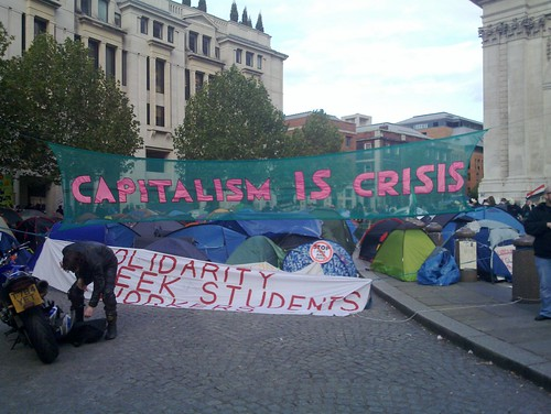 Capitalism is Crisis banner at St Paul's