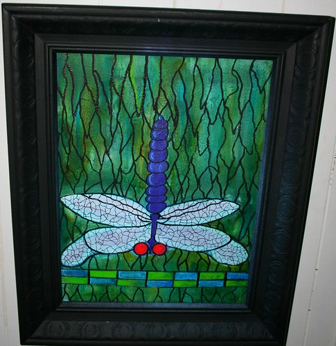 "Tiffany Inspired 22"" x 26"" Framed Painted Canvas by Rick Cheadle Art and Designs"