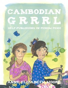 Cover of Cambodian Grrrl: Self-Publishing in Phnom Penh. The cover shows two illustrated young women sitting on a bicycle. Both are wearing pastel polka-dot shirts and flowery pants. They bike across a backdrop that shows some fuzzy palm trees in the background and hand-drawn blue books falling from the sky.