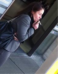 Smoking cigarette (Matzischatzi) Tags: public girl outdoors women break cigarette candid smoke smoking females smokes
