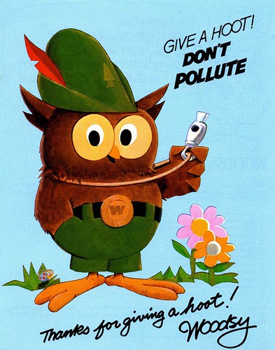 "The U.S. Department of Agriculture debuts Woodsy Owl in Washington, D.C. in 1971. His signature motto then was ""Give a hoot; don't pollute!"""