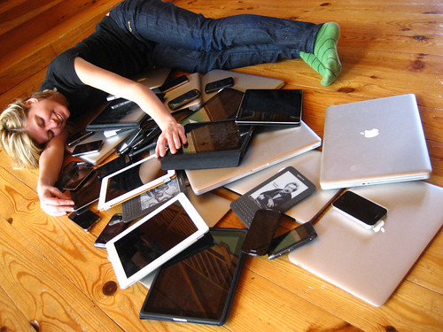 Cuddling with multiple devices by adactio, on Flickr