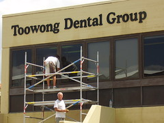 toowong dental group window painting project by window revival