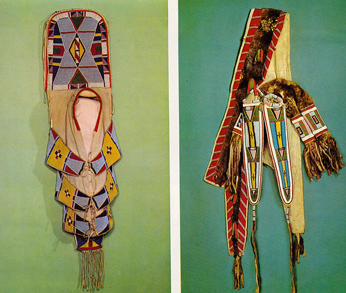 Left: cradle board. Crow. c. 1900. Right: Quiver and bow case. Nez Perce. c. 1880