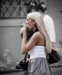 A good ice cream in Prague (nicol parasole) Tags: travel bw woman white black girl sepia pentax praga icecream k5 flickrawardgallery nicopara71 nphotography