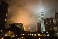 When KL became Gotham City! (AvikBangalee) Tags: cloud rain fog architecture landscape smog cityscape nightshot smoke petronas landmark icon malaysia kualalumpur twintower petronastwintower cosmopolitancity