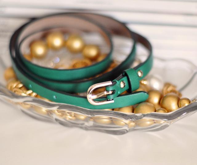 green leather skinny belt ann taylor