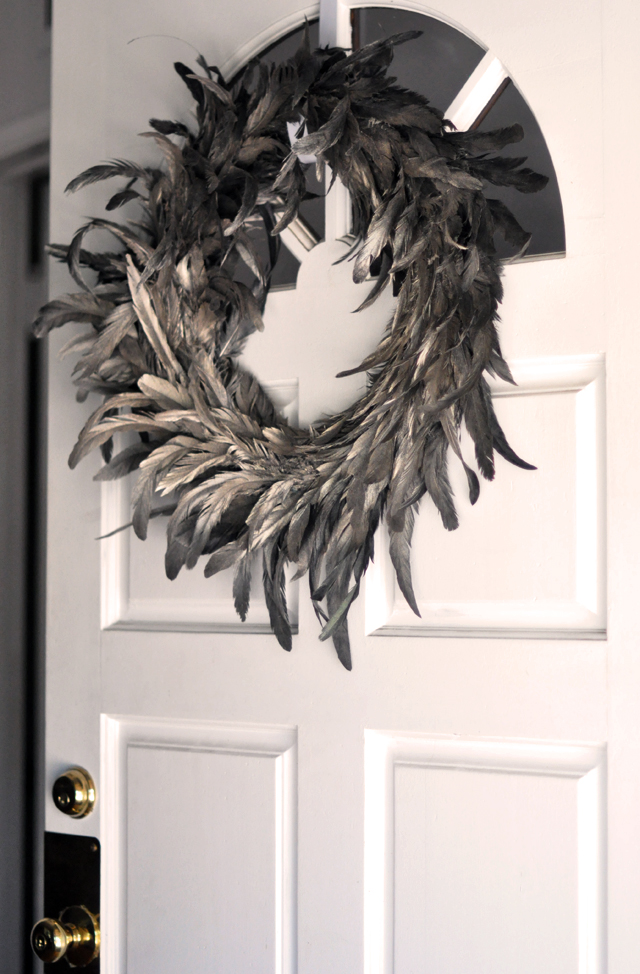 silver pewter feather wreath - on the door