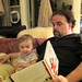 Sage and her dad reading