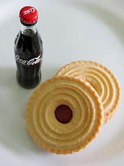 Jammy Rings Cookies and Miniature Coke Bottle (shaire productions) Tags: food brown detail macro cookies closeup fruit dessert photography foods photo cookie image sweet desserts photograph pastry edible filling imagery buttery jammyrings