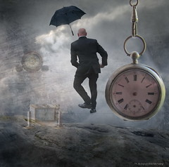 Time Jumper (h.koppdelaney) Tags: life art clock digital photoshop heaven transformation symbol time magic watch border dream picture surreal philosophy dreaming jumper metaphor passage lucid psyche timeless zeit symbolism psychology magie archetype transcendence zeitreise zeitsprung ewigkeit zeitlosigkeit koppdelaney zeitgrenze