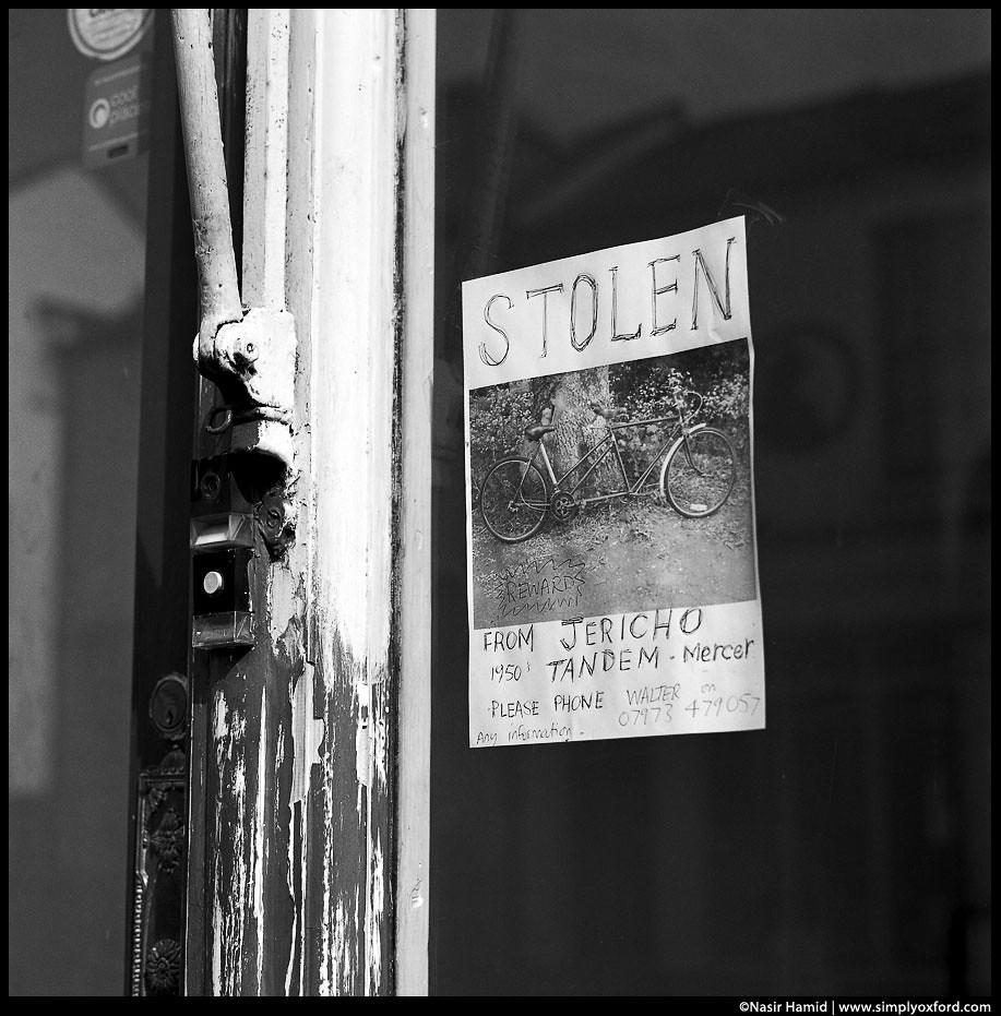 Stolen bike sign