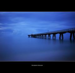 Anglin Pier, Lauderdale by the Sea. (Shobeir) Tags: longexposure blue seascape sunrise pier florida perspective atlanticocean fishingpier southflorida blueocean publicbeach lauderdalebythesea floridabeach nd110 shobeiransari anglinpier