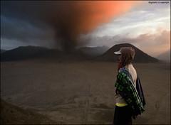 Light Painted Eruption (Ragstatic) Tags: travel light orange man color scarf indonesia exposure desert smoke ash hood plains hue eruption bromo tengger activevolcano