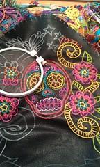 Custom XL Clutch (sew.zinski) Tags: pink flowers orange black leather yellow dayofthedead embroidery sugarskull mexicanfolkart handembroidered sewzinski