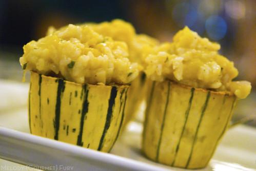 One Love Farms delicata squash and sage risotto served in delicata squash cup