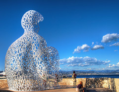 Nomade (marcovdz) Tags: sculpture france art giant contemporary letters ctedazur antibes hdr lettres nomade frenchriviera jaumeplensa contemporain 3xp gante bastionstjaume
