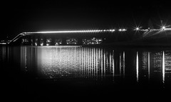 The other side (Robbin Glliner) Tags: city bridge light bw reflection skyline night nikon flair helios 442 stersund d90 vallsundsbron