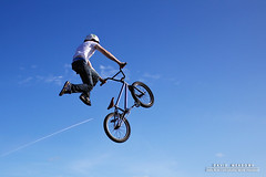 Take-off! (DMeadows) Tags: sky mountain bike bicycle museum clouds person scotland kid jump jumping bmx freestyle ramp child riverside glasgow air jet trail gravity inflatable cycle airbag trick airborne rider youngster trials minimalist stunt skill davidmeadows dmeadows davidameadows dameadows riversideextreme theairbagnet
