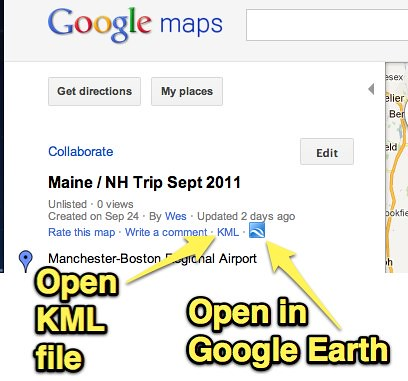 Open Google Map as KML file