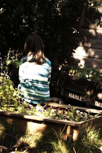 boo by the fairy garden