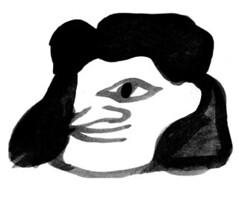 noralet (eastwoodkinnymoo) Tags: white black eye girl ink hair happy one nora curly let