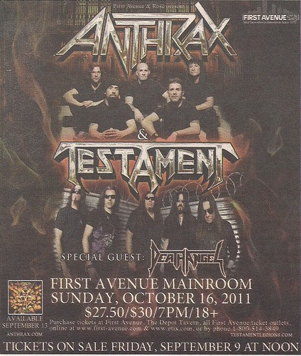10/16/11 Anthrax/Testament/Death Angel @ First Avenue, Minneapolis, MN (Ad)