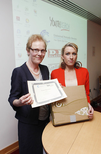 Noeline Blackwell, FLAC Director General, with winner Lauren Donovan