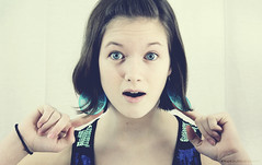 Imagine That! (Kay Walker) Tags: lighting blue goofy yellow sepia studio google tina earrings links tones actions imaginethat smokeandmirrors annagay itsfuntouse