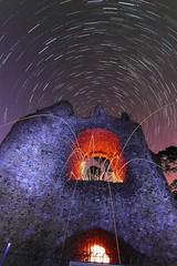 Castlemania II (quornflake) Tags: longexposure lightpainting castle wool night stars ruins spooky lighttrails sparks startrails starstax
