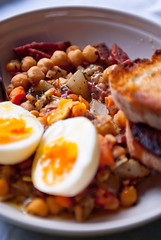 Chickpea and sausage stew (mikko kuhna) Tags: food pepper bacon egg sausage vegetable meat pork carrot garlic onion oliveoil herb thyme chickpea pimenton