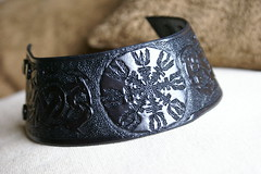 Helm of Awe leather wristband (sevenannine) Tags: sca dragons lotr hippie viking symbolic larp pagan celticknotwork asatru tarawhite vegvisir aegishjalmur helmofawe sevenannine thecrookedwoman leatherhandtooledwristband runiccompass